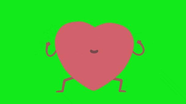 Vzrušené srdce tahů karikatura animace se zeleným pozadí obrazovky.