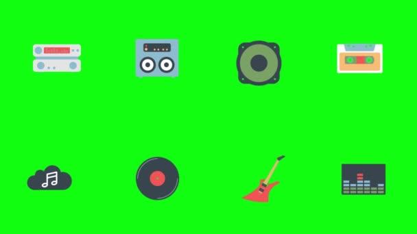 Musikalische Produkte Animation auf grünem Bildschirmhintergrund. Set digitaler Produkte wie Kabel, Kopfhörer, Monitor usw. mit Intro.