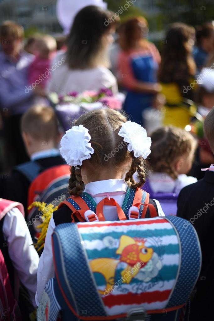 Saint Petersburg, Russia - September 1, 2015: Children go to sch