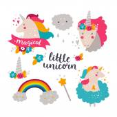 Fotografia Set di baby unicorno e arcobaleno