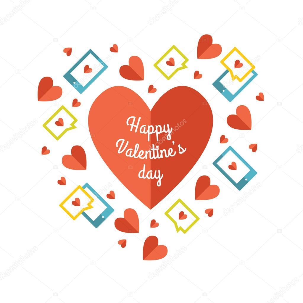 Valentinstag-Grußkarte mit Liebe Sms-Nachrichten — Stockvektor ...