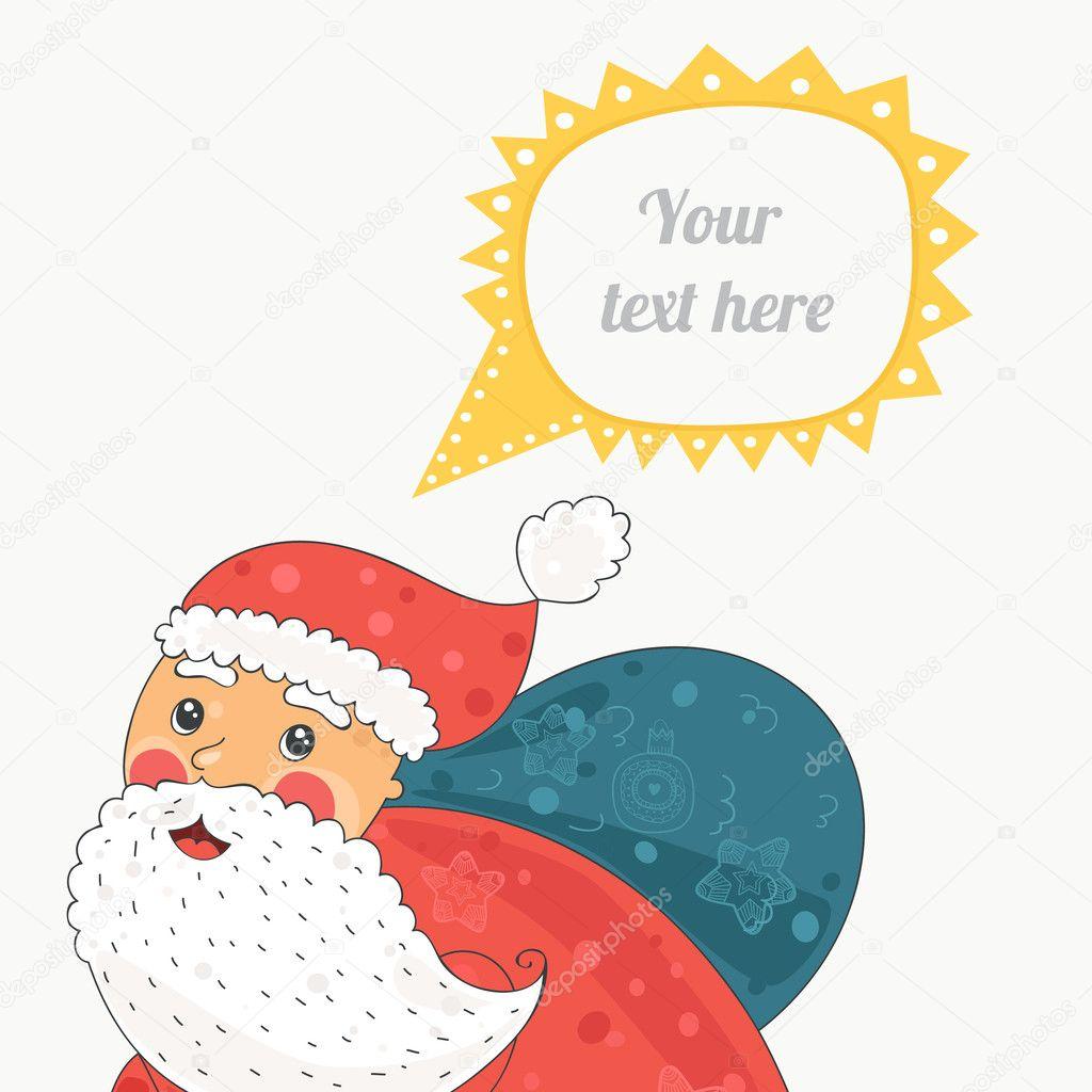 Noel Baba Noel Kartında Bisiklet Ve Konuşma Balonu Stok Vektör
