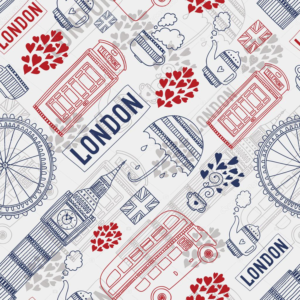 Vector London Background With Tourism Attractions And Symbols Big Ben Bus Teacup Flag Telephone Umbrella By Tatishdesign