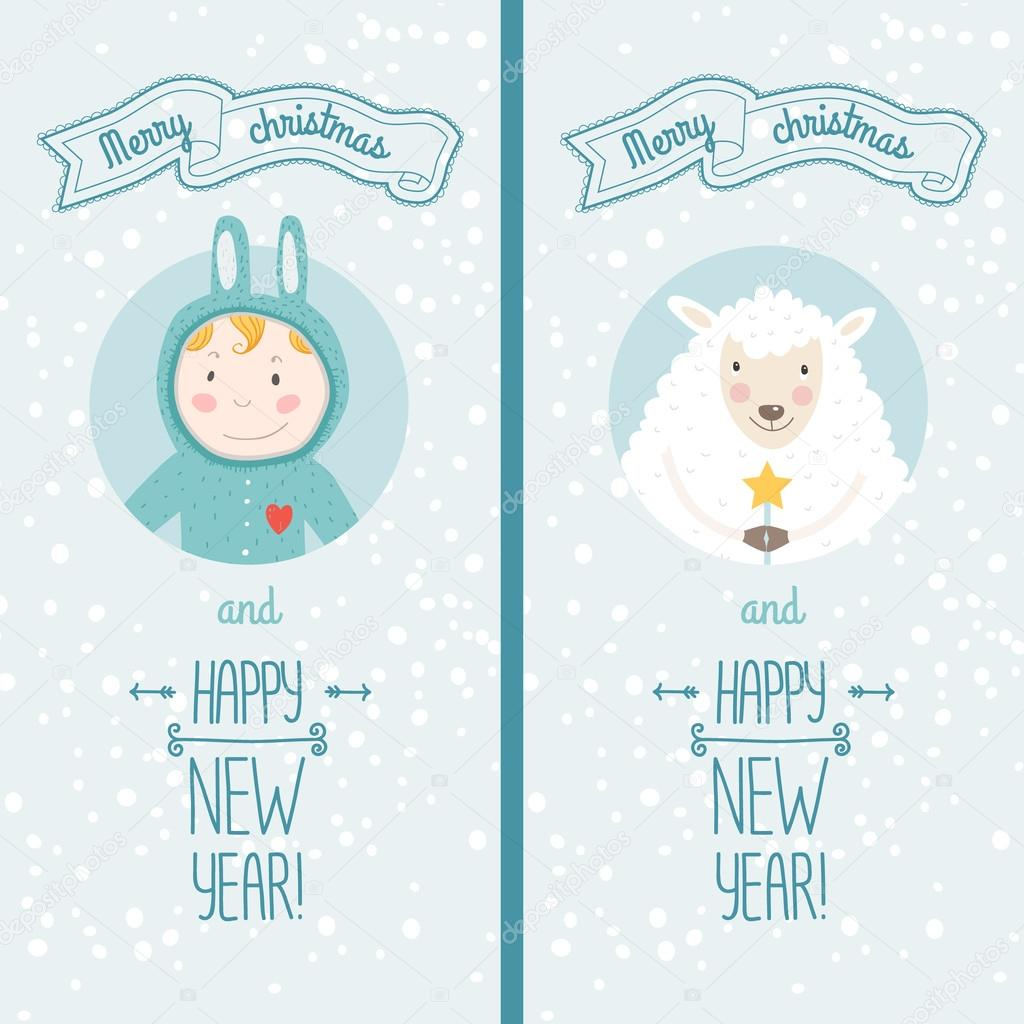 happy new year card with boy and sheep stock vector