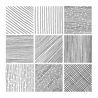 Vector collection ink hand drawn hatch texture
