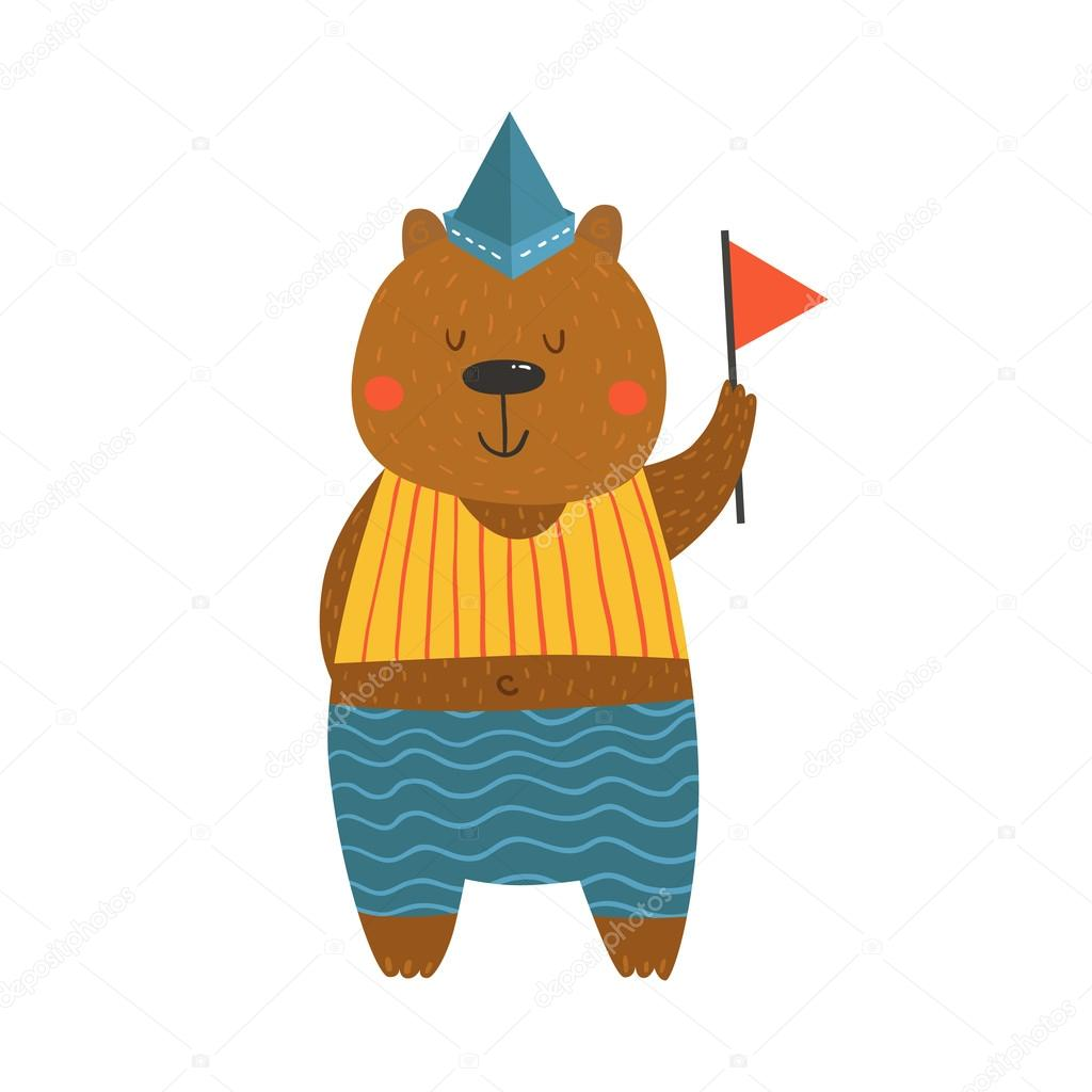 Cute sailor bear with flag