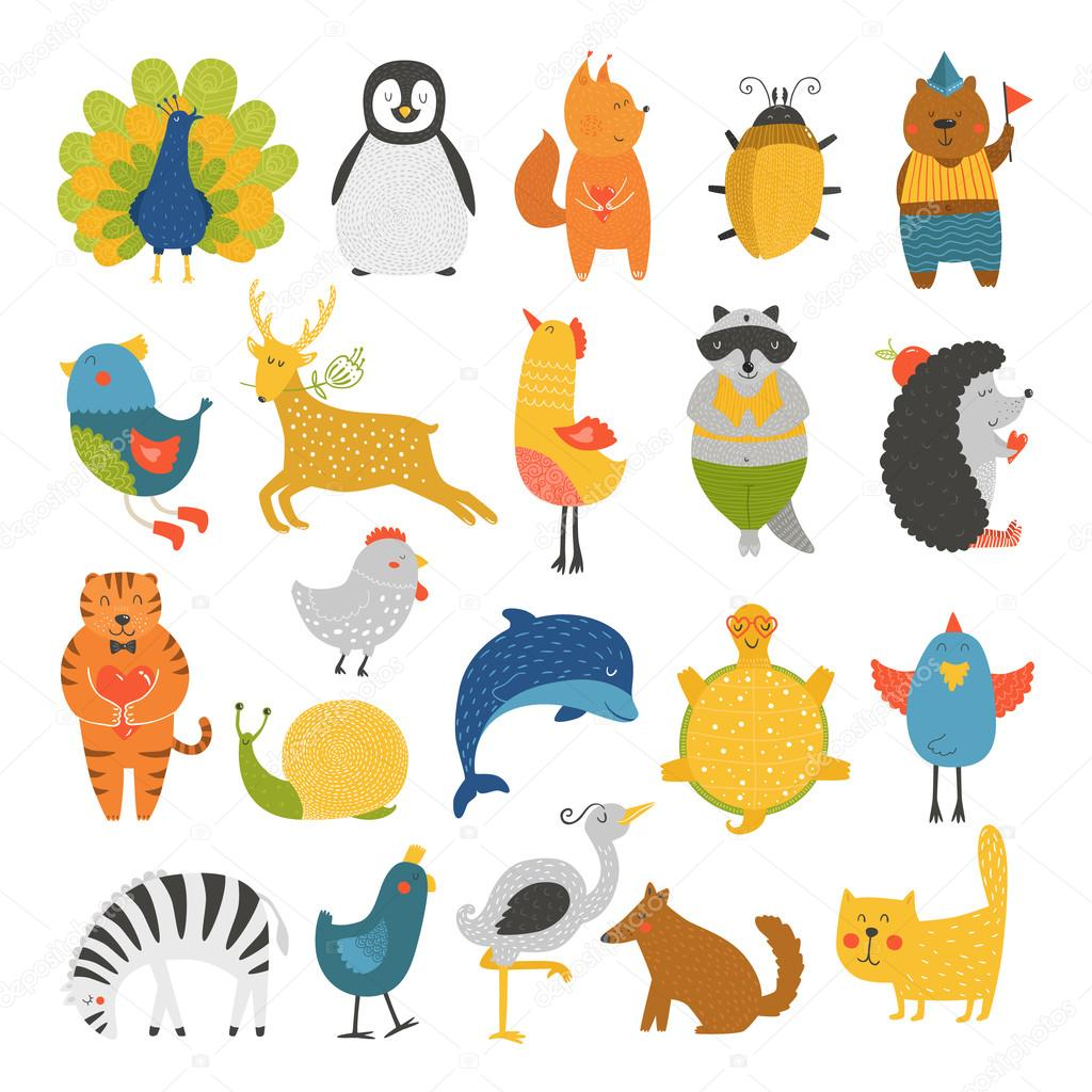 Cute animals collection, baby animals, animals vector