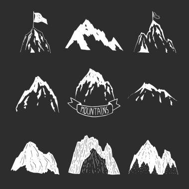 Mountains vector collection, hand drawn mountain set