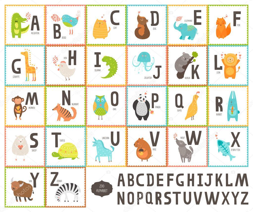 Favoritos Alfabeto de vetor bonito jardim zoológico com animais dos desenhos  TD48