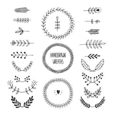 Set of vector handdrawn laurels and wreaths