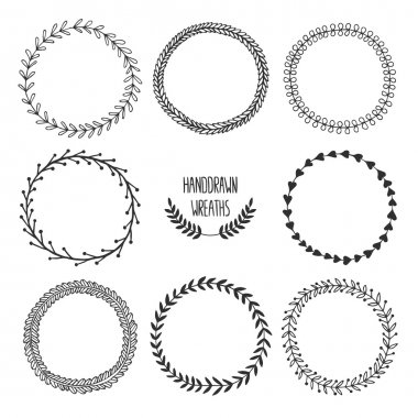 Set of handdrawn wreaths