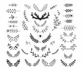 Set of vector hand drawn laurels, wreath, branches