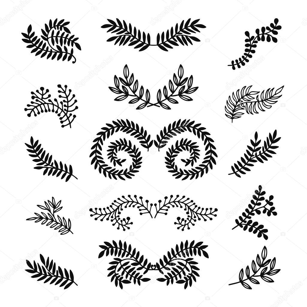 Set of vector hand drawn laurels, wreath, branches