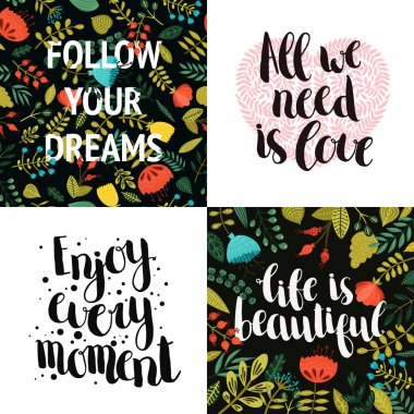 Vector collection of Inspirational cards