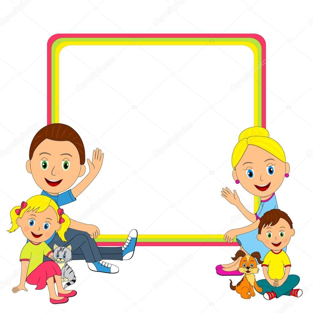familia joven feliz sentado en el piso y el marco — Archivo Imágenes ...