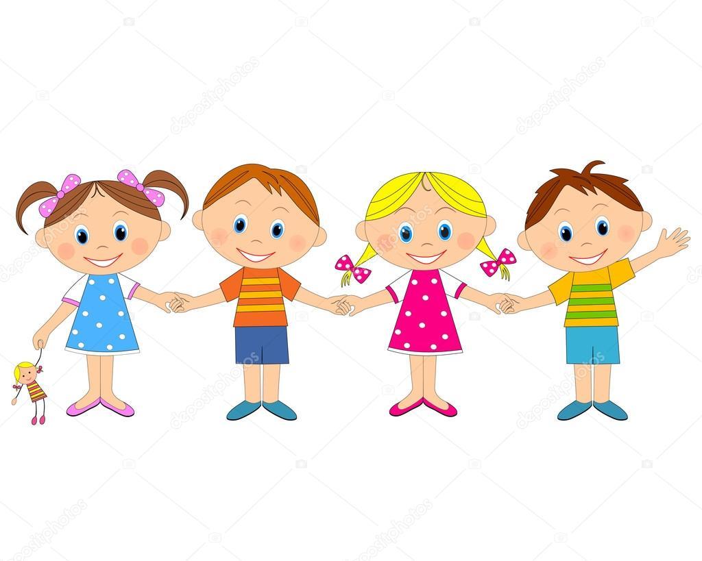Meninos E Meninas De Nacionalidades Diferentes Childre: Meninos E Meninas De Mãos Dadas