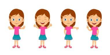 Kids, children express emotions set,illustration,vector icon