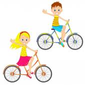 chlapec a dívka na kole