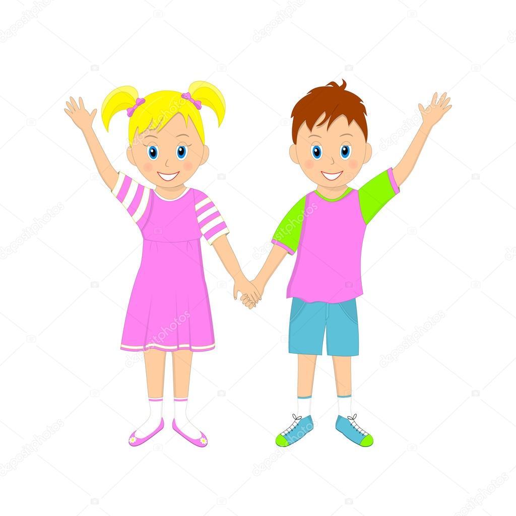 Открытка мальчик и девочка держатся за руки