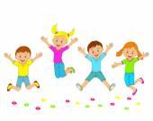děti, chlapci a dívky, skákání a usmívá se