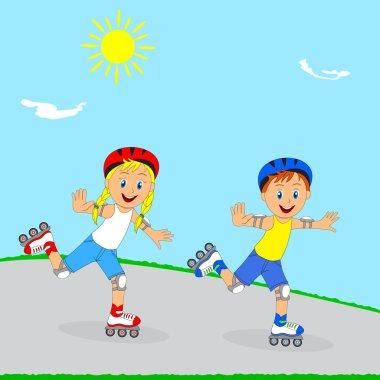 children,boy and girl rollerblading