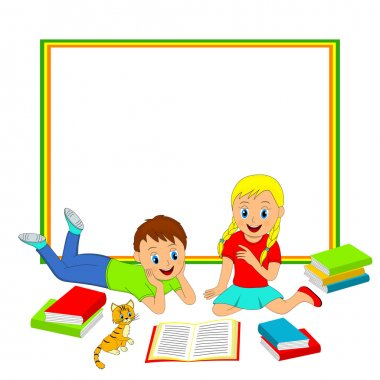 frame with children, boy and girl reading a book