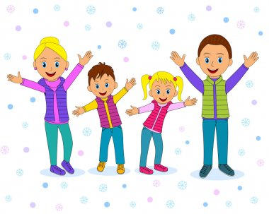 Happy family smiling with their hands up in winter