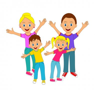 Happy family smiling with their hands up, illustration, vector stock vector