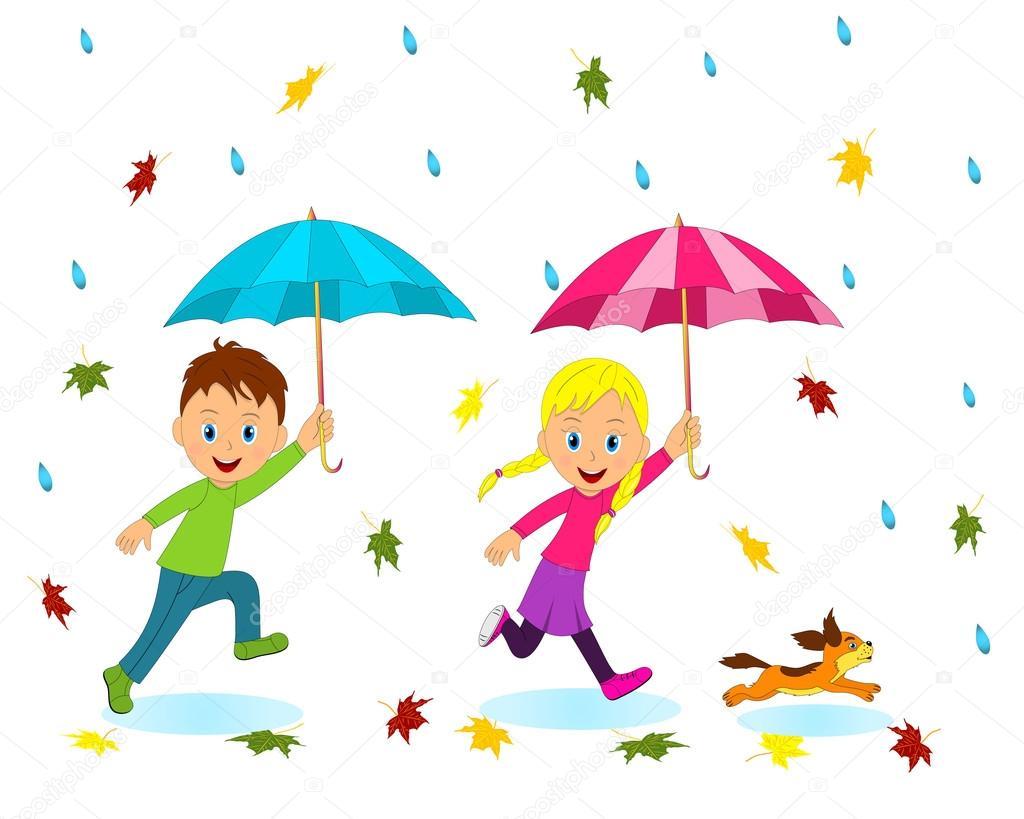 Niño Y Niña Con Paraguas