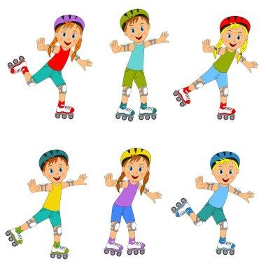 boys and girls on roller skates