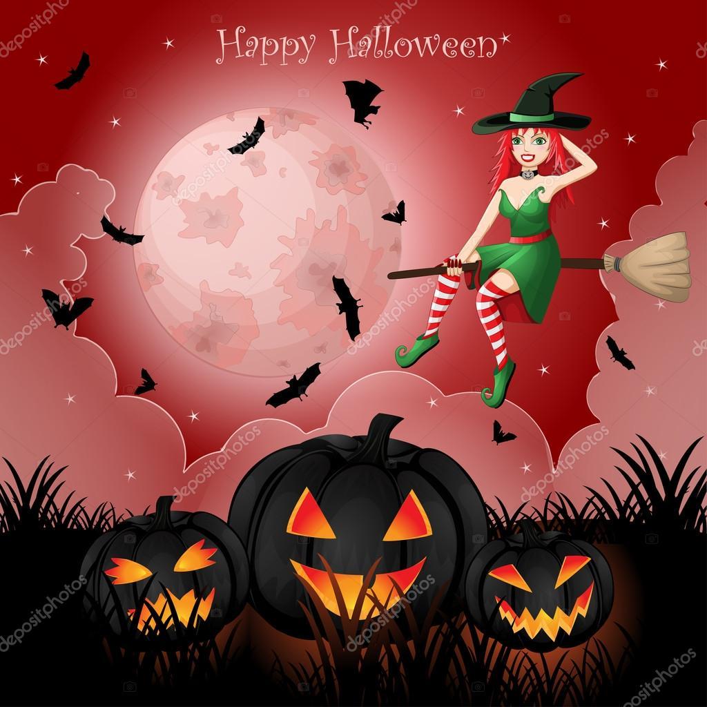 Открытка к хэллоуину с ведьмочкой