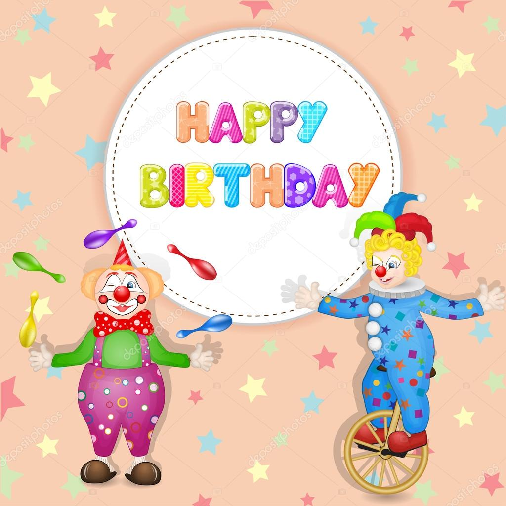 Happy birthday greetings cute happy birthday card with fun clowns happy birthday greetings cute happy birthday card with fun clowns stock photo kristyandbryce Images