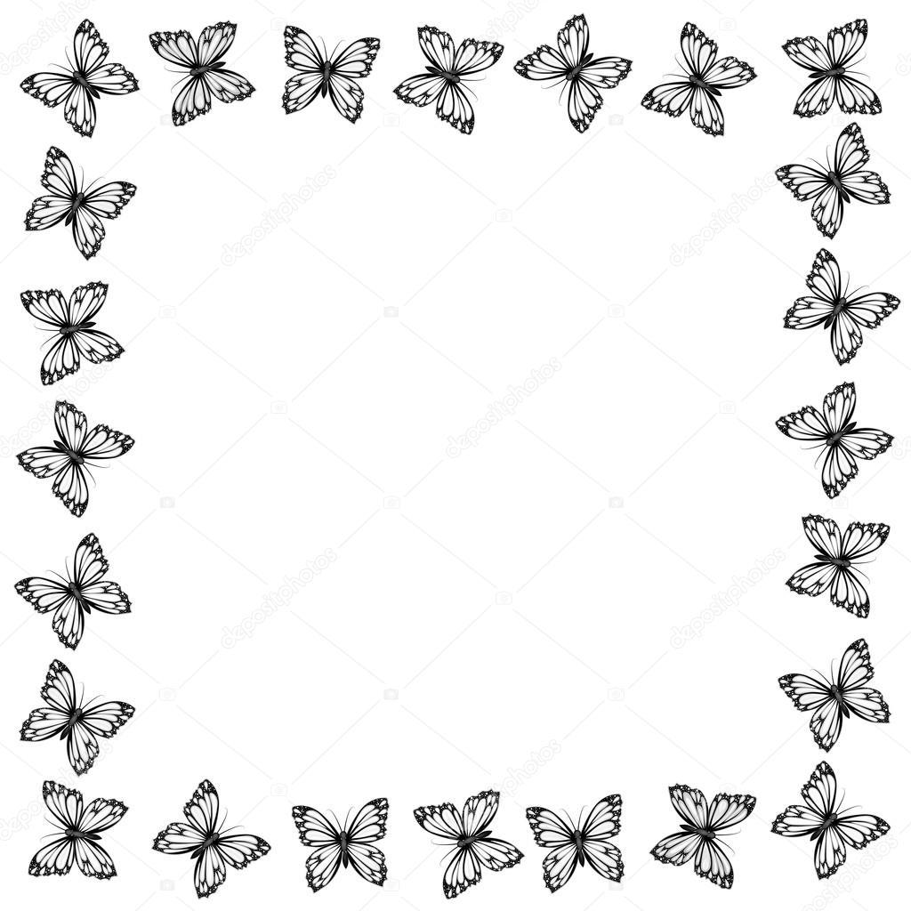 Marco de mariposas de blanco y negro — Archivo Imágenes Vectoriales ...