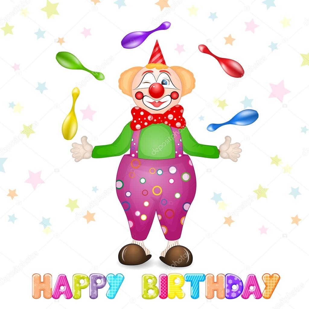 Happy birthday greetings. Cute happy birthday card with fun clowns
