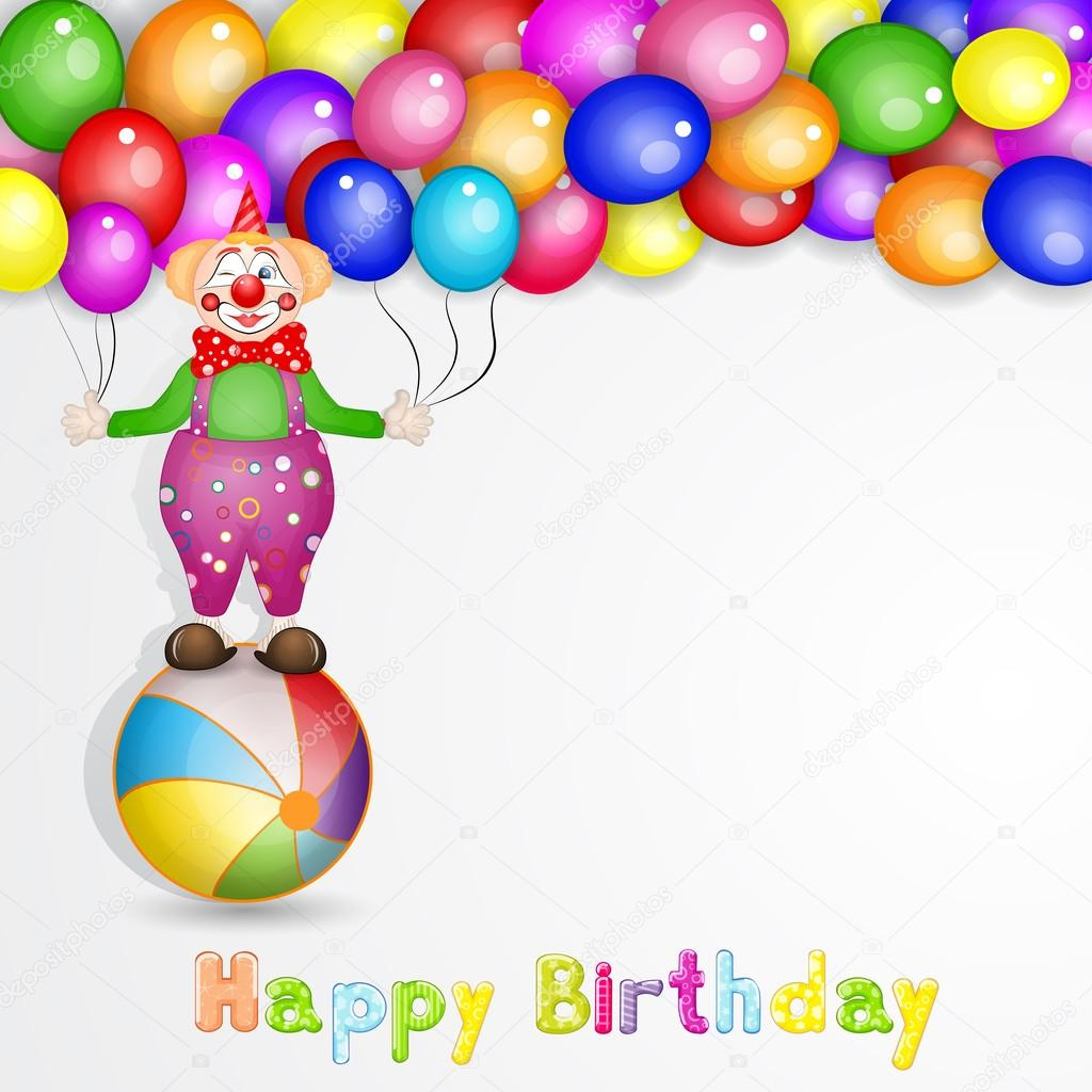 Happy Birthday Greetings Cute Happy Birthday Card With Fun Clowns