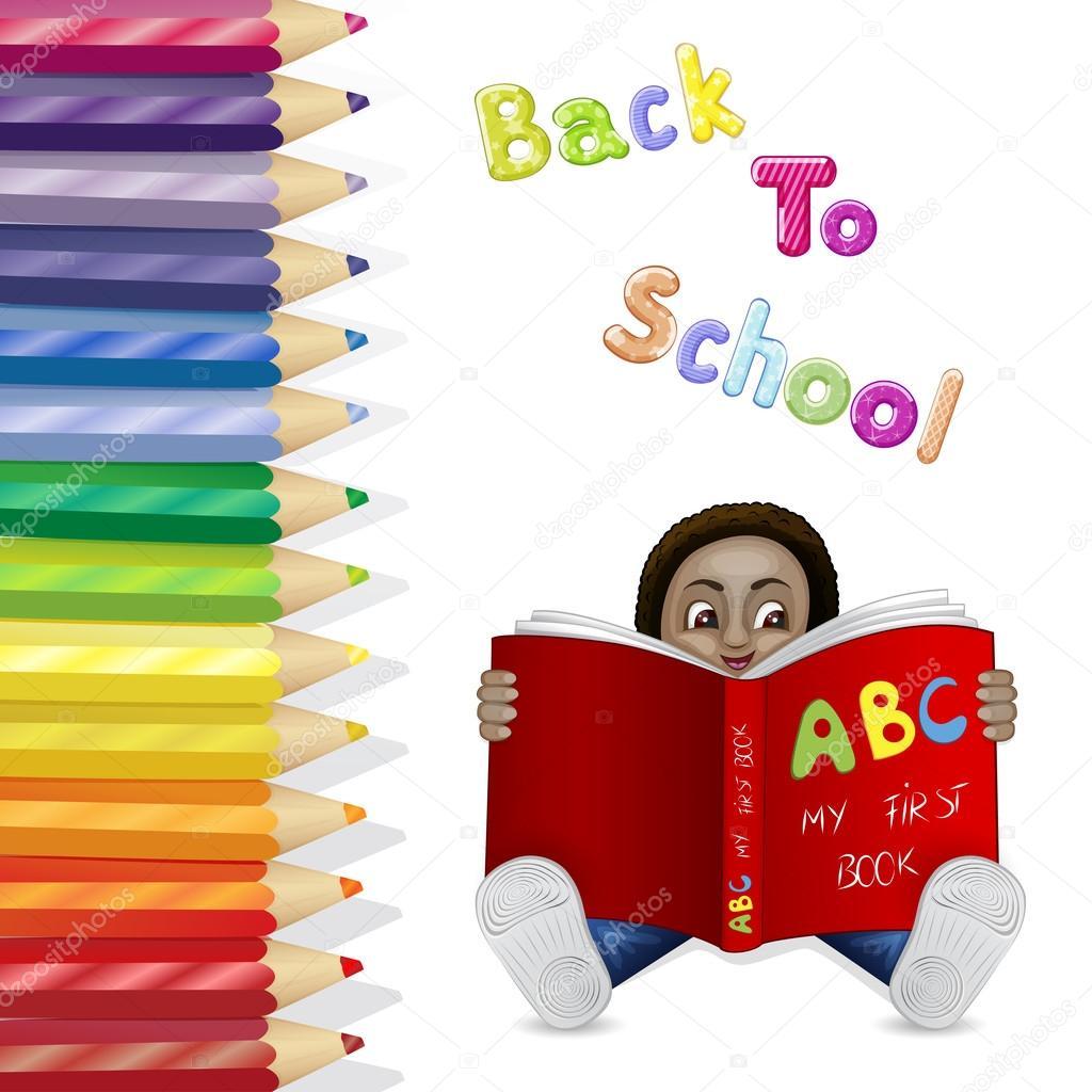 niño leyendo un libro sobre un fondo de lápices de colores — Archivo ...