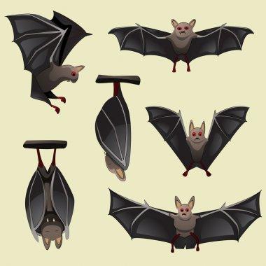 Set of spooky Halloween bats