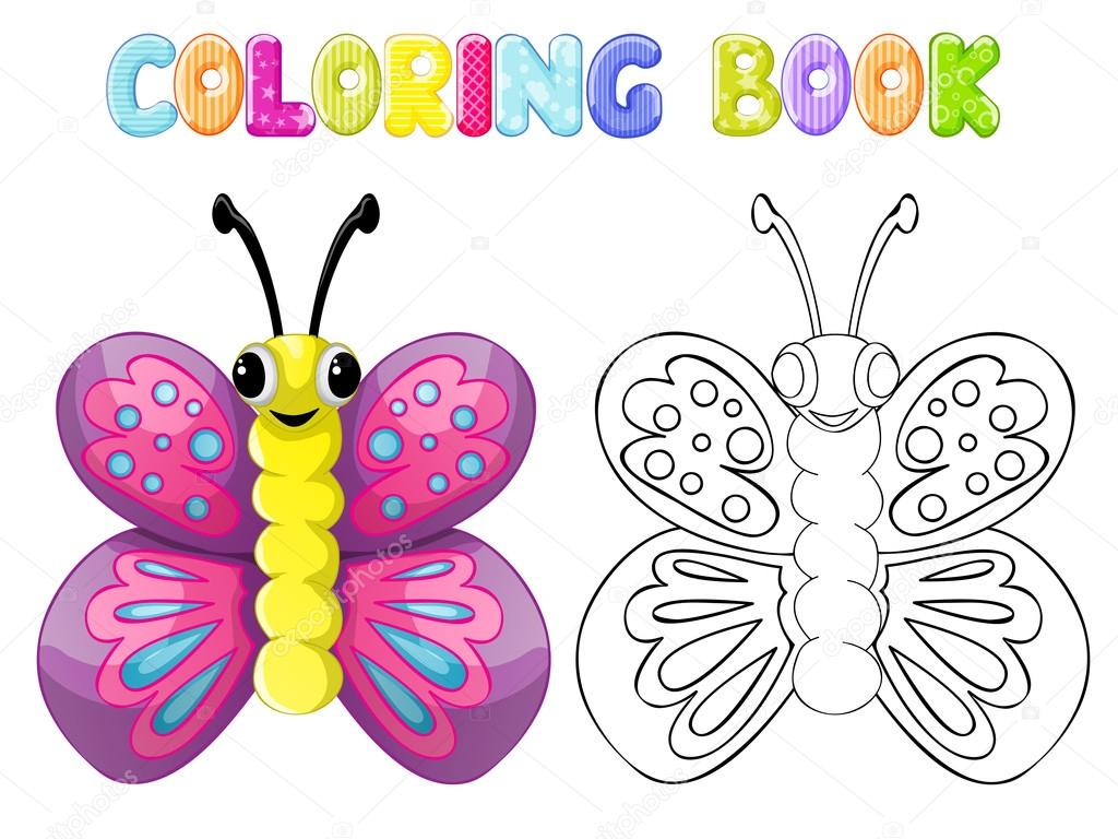 Mariposa para colorear — Archivo Imágenes Vectoriales © karmina83 ...