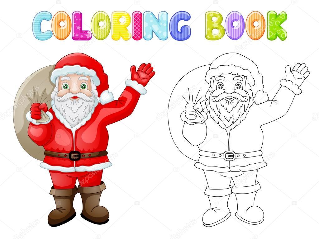 Dibujos animados para colorear Santa Claus con bolsa — Vector de ...