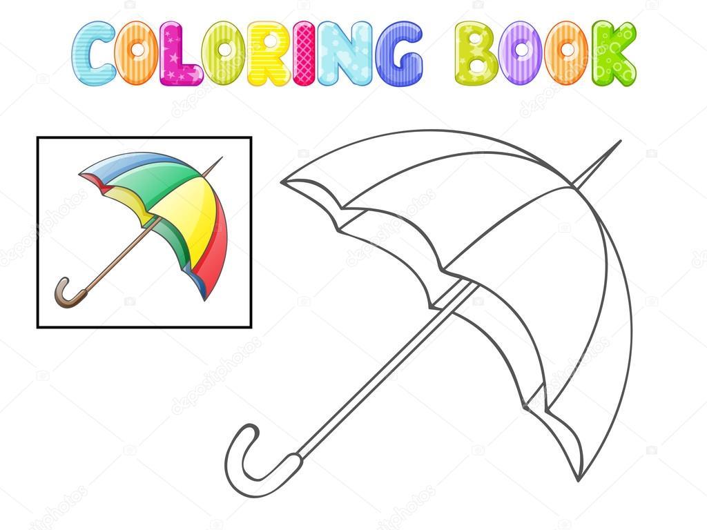 Paraguas para colorear en blanco — Vector de stock © karmina83 #95521834