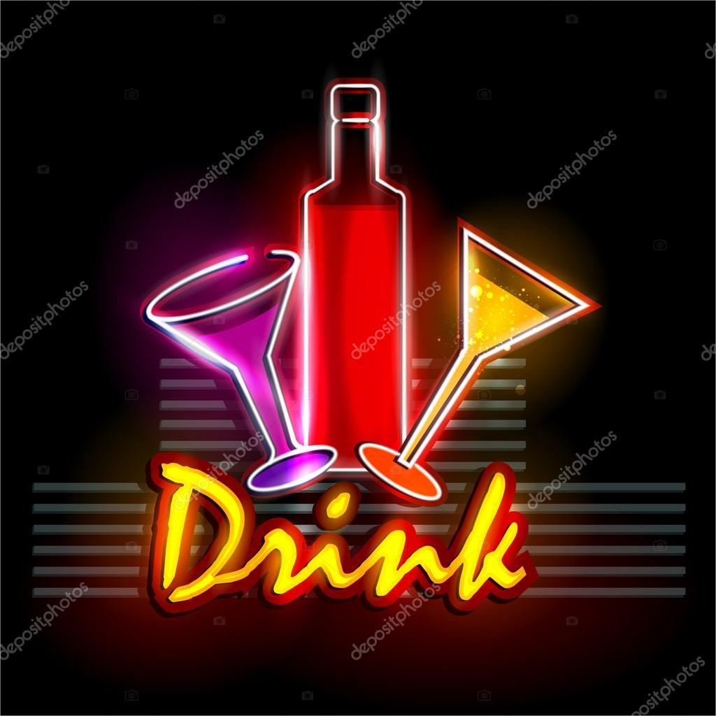 Neon-Licht Schild für Getränke-shop — Stockvektor © snapgalleria ...