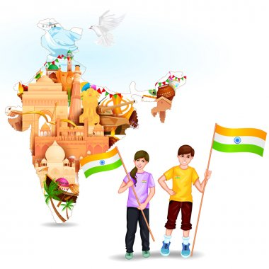 Easy to edit vector illustration of people with Indian flag celebrating freedom of India stock vector