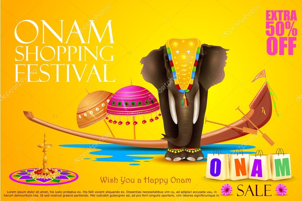 Decorated elephant for Happy Onam