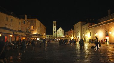 People on Night Square
