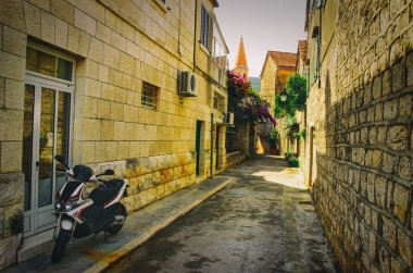 Old Historical Street with Moped