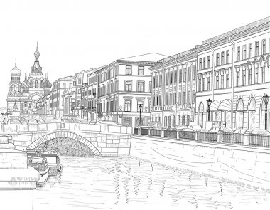 Drawing on the channel Griboyedov streets of Saint Petersburg clip art vector