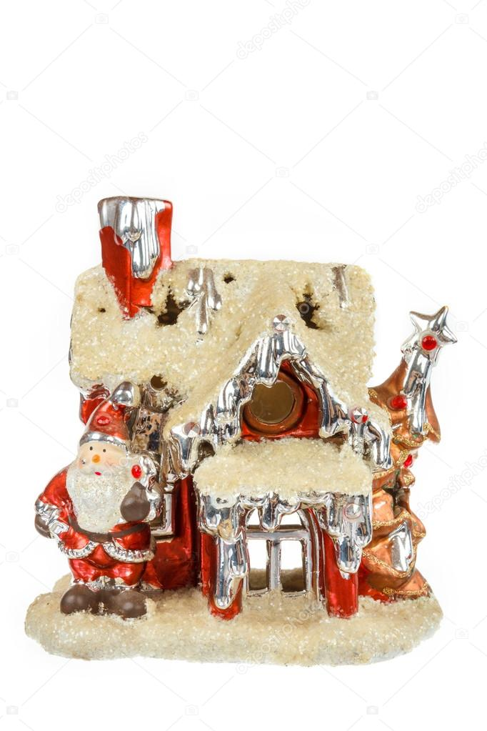Decorative Red Santa House Ornament For Christmas Or New Year