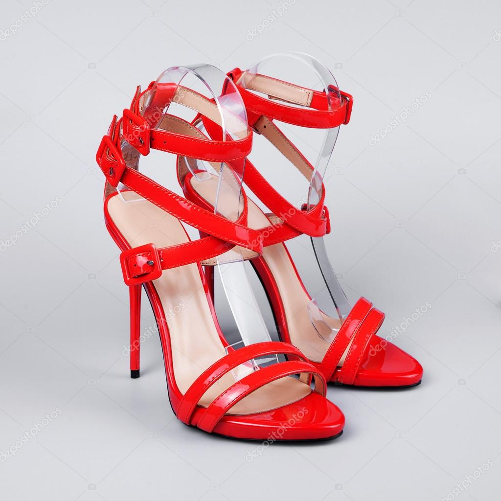 Red sandals for women — Stock Photo