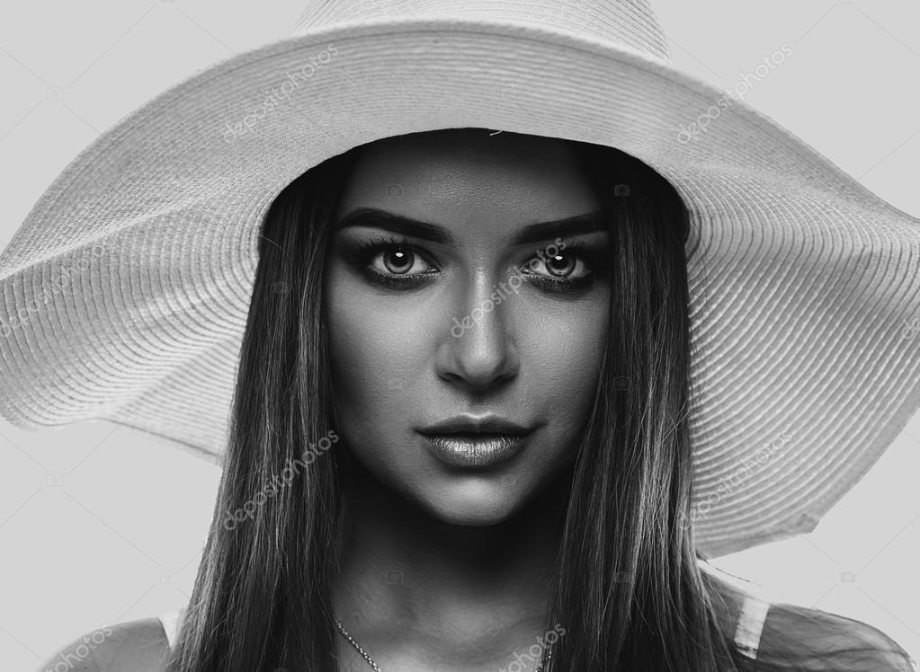 Summer Portrait Of Girl In White Hat Stock Photo C Martyna1802