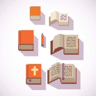 pixel art style closed and open book icons set